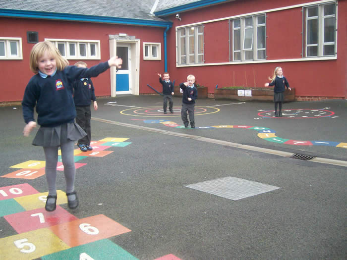 Jumping high on our painted tarmac!