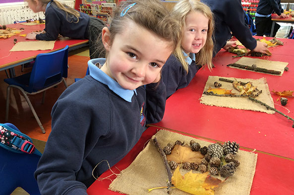P1 sorting leaves.